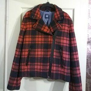 NWOT Gap Red/Black Plaid Biker Jacket